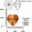 Swarovski korálky, Heart 14mm- crystal copper