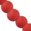 Sklen. korálky s pogumovaným efektom 8mm-červené