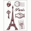 Silikónové pečiatky-Paríž, poštové známky a kľúče