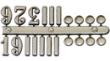 Arabské číslice,bodky,čiarky 15mm-strieborné