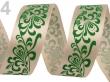 Ozdobná atlasová stuha 25 mm/zelený ornament