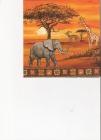 Africké zvieratá na oranžovom podklade