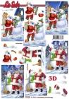 3D obrázky-Santa Claus so snehuliakom