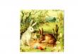Zajace a kraslice v tráve na dedine