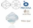 Sklenené brúsené slniečka 4 mm-White opal-10 ks