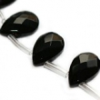 Sklenené brúsené kvapky 12x18 mm-2 ks-čierne