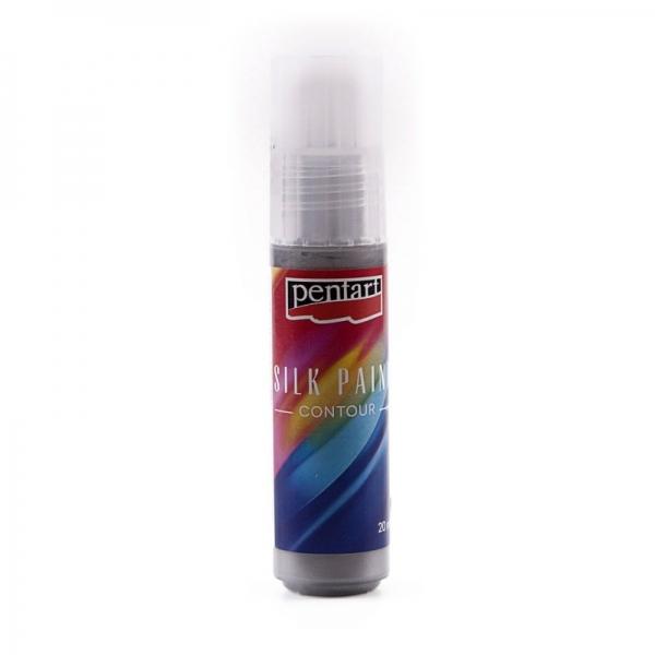 Kontúra na hodváb PENTART 20 ml-strieborná
